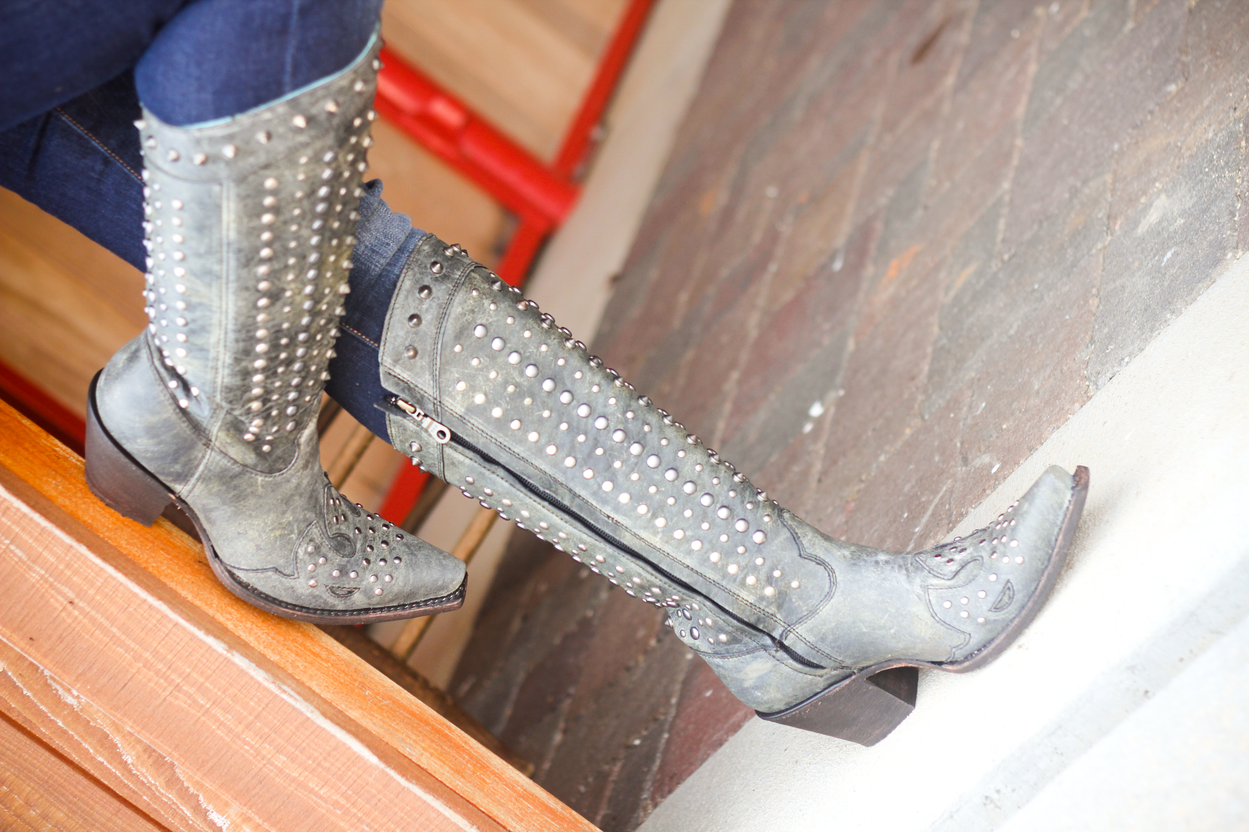 Corral Black Full Studded Boots C2791